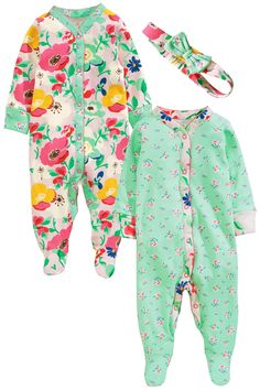 Buy Turquoise Floral Print Sleepsuits Two Pack With Headband (0mths-2yrs) from the Next UK online shop