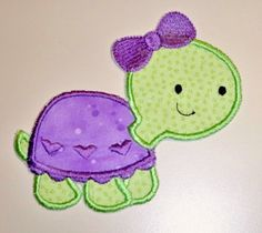 Sweet turtle iron on applique patch lime green and purple Stencil Patterns, Applique Patterns, Applique Designs, Quilt Patterns, Embroidery Designs, Baby Applique, Machine Embroidery Applique, Iron On Applique, Sweet Turtles