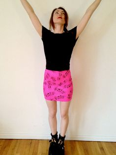 Hot pink Music Note  women skirt  all sizes by coyotepeyote, $34.00