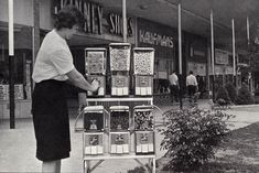 Candy vending machines at the shopping mall - Circa 1969