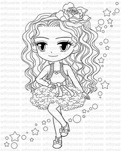 Digi Stamp Isabels Bouquet Pretty Girl Coloring page Big eyed