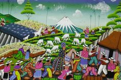 Artist: N/A; Name of Piece: Saturday Volcano Art, Tigua: This piece of art represents interdependence because it is in a thriving community. The people are working together to get food and anything they need to survive.
