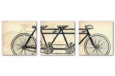 Vintage Art Print Tandem Bike Wall Art by SusanNewberryDesigns
