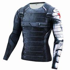 Nueva 3d winter soldier avengers 3 camisa de los hombres de verano de manga larga de compresión crossfit gimnasio camisetas hombre clothing tops ajustados