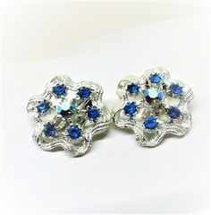 Blue Earrings - Vintage, Silver Tone, Blue Iridescent Rhinestones, Clip on by MyDellaWear on Etsy $18