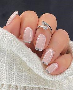 Classy Nails, Stylish Nails, Cute Nails, Classy Nail Designs, Gel Nail Designs, Glitter Pedicure Designs, Neutral Nail Designs, French Manicure Designs, Nails Yellow