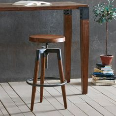 FeaturesSwivel up from Frazier Counter Stool.Our solid wood seat and frame will dress up any counter.Dark brown wood tones are offset by the Gun metal legs.Counter height - in. to bar stool height 29 in. Stool Height, Counter Height Bar Stools, Bar Counter, Island Stools, Kitchen Stools, Diy Bar Stools, Basement Kitchen, Basement Ideas, Wooden Stools