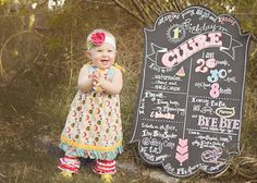 Favorite one year old picture! Photo by Whimsy and Style Photography, Chalkboard by Traditions