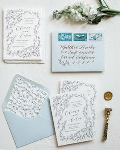 Need some wedding calligraphy inspiration? Check out these gorgeous calligraphy of Emily Rose Ink, including wedding invitations, envelopes, and more! Spring Wedding Invitations, Wedding Invitation Samples, Floral Wedding Invitations, Wedding Stationary, Invitation Suite, Invitation Ideas, Invites, Wedding Paper, Wedding Cards