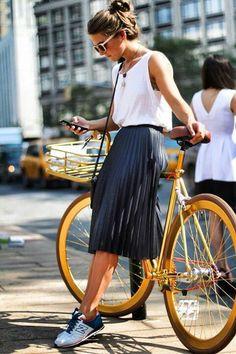 new balance sneakers with feminine skirt