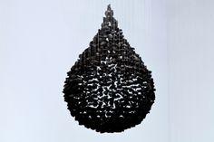 "Beautiful.  Seon Ghi Bahk - Detail of An Aggregation 12-10 / 87"" x 28"" x 28"" / Charcoal, nylon, threads, 2012"