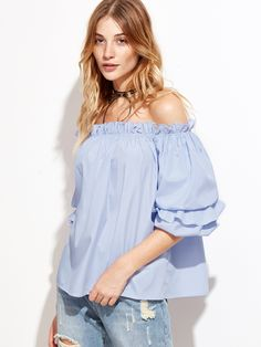 16$  Buy here - http://di8x5.justgood.pw/go.php?t=8830 - Blue Vertical Striped Off The Shoulder Billow Sleeve Top 16$
