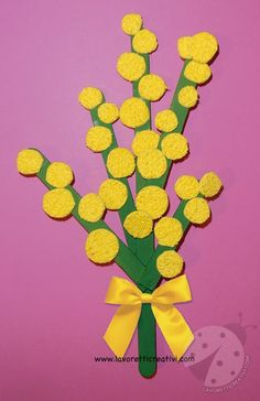 Lavoretti per bambini Mimosa con bastoncini del gelato Paper Crafts For Kids, Easy Crafts For Kids, Craft Activities For Kids, Summer Crafts, Preschool Crafts, Diy And Crafts, Coffee Filter Art, Circle Crafts, Construction Paper Crafts