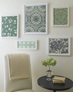 Kitchen Wall Decor Ideas-different size frames with scrapbook paper or fabric