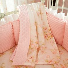 shabby chic baby bedding baby blanket in pink floral with back in pink dimpled minky