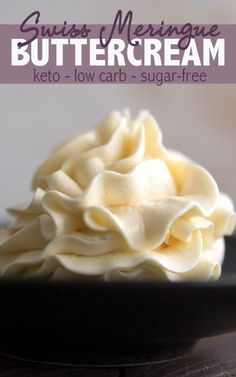 Best ever sugar free frosting. This silky Swiss Meringue Frosting is totally keto friendly and absolutely divine. Spread or pipe it onto your favorite low carb cakes and cupcakes. via All Day I Dream About Food Cupcakes Keto, Keto Cake, Cupcake Cakes, Sugar Free Cupcakes, Keto Foods, Keto Approved Foods, Keto Snacks, Sugar Free Frosting, Meringue Frosting
