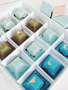Box of 12 - Mixed Watermelon Pyramid Chocolates — nectar and stone . Chocolate Diy, Luxury Chocolate, Chocolate Molds, How To Make Chocolate, Chocolate Truffles, Fancy Desserts, Köstliche Desserts, Wedding Desserts, Australian Desserts