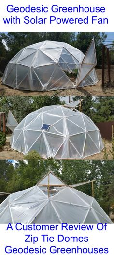 A Solar Powered Fan has been added to this Geodesic Dome for off-grid ventilation. An interesting Customer Review of Zip Tie Domes.