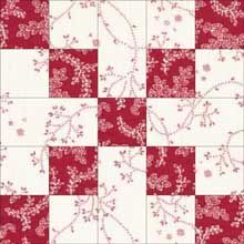 Country Lanes Quilt Block (no tutorial, just image) 4 - four square blocks (each corner), 4 - strips that are 1 block wide and 2 blocks tall, and for the center 1 square block.