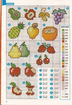 Fruits hama perler beads pattern