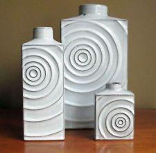 "Mid-Century: Lot of 3 1960's White Steuler Keramik ""Zyklon"" Vases: Cari Zalloni"