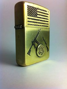 Patriot  Custom Etched Armor Brass Zippo by BlackenedCreations, $135.00
