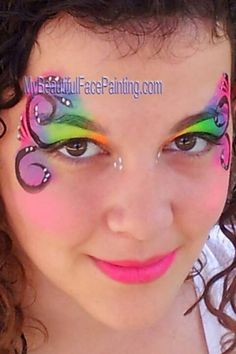 Neon eye swirl face paint