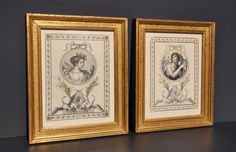 Vintage Lithographs  Matching Pair  Hand Colored  by FabsAndFaves, $35.00