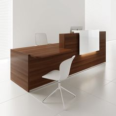 MDD Office Furniture TERA Left Countertop Large Reception Desk w/Light Panel, Lowland Nut, - Director office interior Modern Office Table, Office Table Design, Office Decor, White Reception Desk, Reception Desk Design, Reception Furniture, Reception Desks, Lobby Reception, Reception Counter