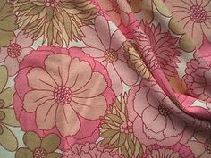 Vintage 1970's Cotton Open Weave Fabric Retro St Michael Big Pink Daisies | eBay