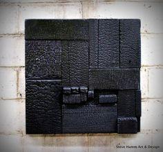 Resultado de imagen para Shou sugi ban on furniture Wooden Wall Art, Wooden Walls, Wood Art, Wood Wood, Rustic Wood, Wood Sculpture, Wall Sculptures, Charred Wood, Wood Mosaic