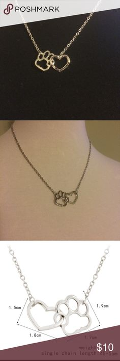 """Paw-Print Necklace Beautiful necklace!  Perfect for the animal lover. 18"""" long, link chain with a 2"""" extender made of zinc alloy.  Available in gold and silver. Jewelry Necklaces"""