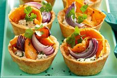 These vegie pies are chock-full of flavour, from the flaky parmesan pastry to the rich ricotta and goats cheese filling.