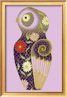 Cloisonne Owl Giclee Print at Art.com