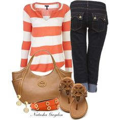 Spring Fashion love the orange stripes and capris