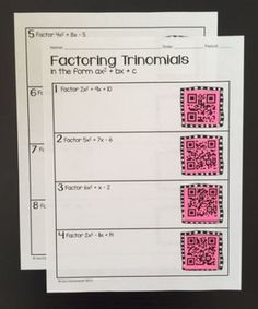 Factoring Trinomials in the form ax^2 + bx + c Practice Assignment with (or without) QR codes!