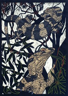 Lace Monitor by Rachel Newling. Hand-coloured linocut on handmade Japanese paper