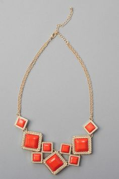 $18 Squaring Off Necklace-Orange