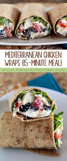 Chicken Wraps These little wraps are tasty and filling and pretty darn healthy and they come together in a flash.These little wraps are tasty and filling and pretty darn healthy and they come together in a flash. Mediterranean Diet Meal Plan, Mediterranean Chicken, Easy Mediterranean Recipes, Healthy Snacks, Healthy Eating, Healthy Wraps, Healthy Chicken Wraps, Chicken Wrap Recipes, Healthy Cooking Recipes