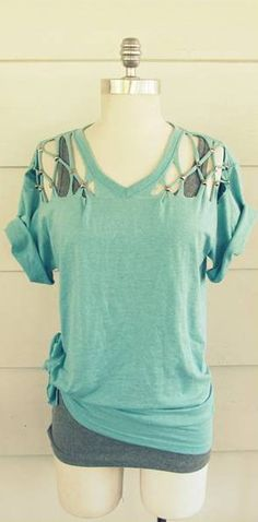 Lattice Studded- Take an Over Sized Tee from Drab to Fab & DIY Clothes DIY Refashion DIY Pillowcase to top | DIY Clothes ... pillowsntoast.com