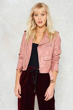 Nasty Gal nastygal Ride On Vegan Leather Cropped Moto Jacket Vegan Leather Jacket, Faux Leather Jackets, Vaqueros Boyfriend, Moto Jacket, Nasty Gal, How To Wear, Red Motorcycle, Cropped Jackets, Biker Jackets