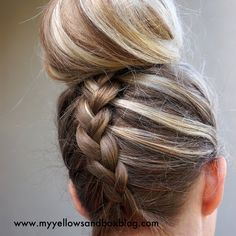 love this..... you just flip you hair upside down and french braid! Then I usually do it in a sock bun. :) Super cute!