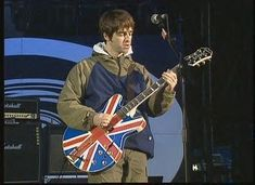 It was at Maine Road that Noel Gallagher debuted his most iconic guitar – the Epiphone Sheraton Union Jack. Description from guitarplayer.wordpress.com. I searched for this on bing.com/images