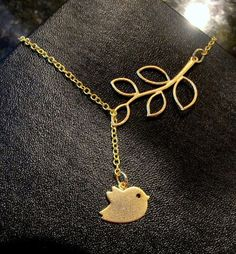 Cute Bird and Branch lariat necklace in GOLD by RoyalGoldGifts, $21.00