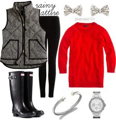 Lesson 14: Rainy days are not made for drab wear. Some cute and cozy rain boots (Hunter socks too, please!), the famous J.Crew houndstooth v...