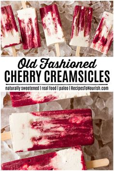 Cherry Creamsicles (Real Food + No Refined Sugar) Do you love the nostalgic Creamsicle®? Give these delicious real food Cherry Creamsicles a try! They're so easy to make! Cherry Desserts, Köstliche Desserts, Homemade Desserts, Frozen Desserts, Delicious Desserts, Dessert Recipes, Yummy Food, Frozen Treats, Healthy Desserts
