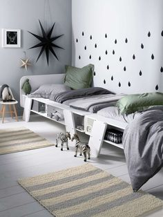 Grey and green collours in children room