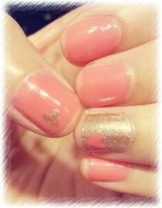 Gold. Pink. Coral. Heart. nail art