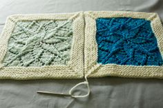 "The border helps these stunning knitted squares hold their shape. ""Wonderful step-by-step tutorial by tin can knits for the Vivid Blanket"""
