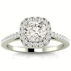 1.1 Carat GIA Certified Cushion-Cut 14K White Gold Gorgeous Classic Cushion Halo Style Diamond…